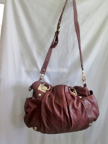 JUNIOR DRAKE soft rouched tote leather hobo satchel shoulder bag carryall BROWN