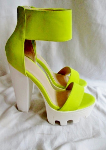 EUC WILD DIVA LOUNGE Vegan High Heel Platform Shoe NEON YELLOW 9 FETISH