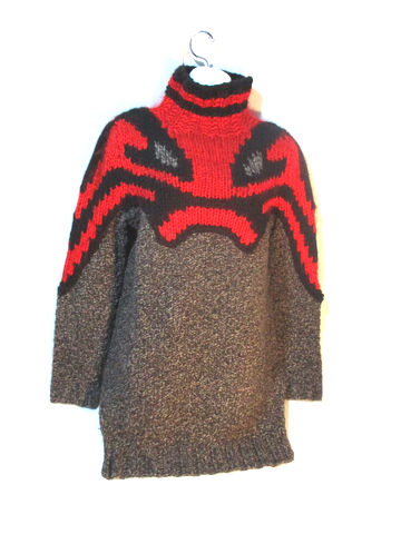 NEW CELINE YAK Wool Cashmere FOX Sweater M RED BLACK Turtleneck NWT