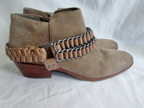 Womens SAM EDELMAN POSEY LEATHER Suede Ankle BOOT Booties Shoe BEIGE 7.5