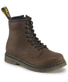 JUNIOR DOC MARTENS DELANEY WYOMING LEATHER Combat BOOT BROWN 3 Ankle Shoe Chukka AIRWAIR