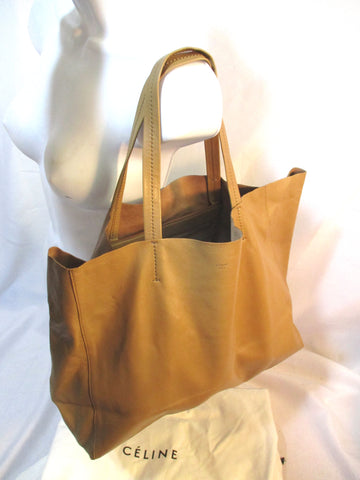NEW CELINE HORIZONAL CABAS LUGGAGE CAMEL BROWN Leather Tote Bag NWT Italy