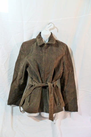 Womens GIII Suede Leather Jacket Riding Trench Coat BROWN S / CH Moto Belted