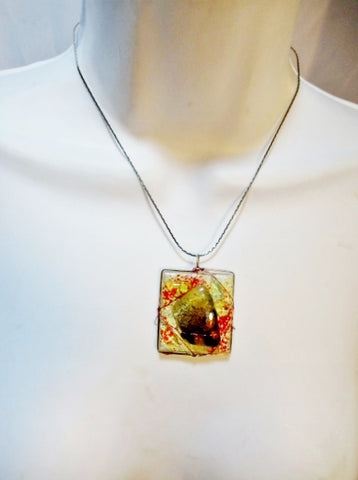 Handmade FUSED Glass Pendant NECKLACE Wrapped Artisan SQUARE Arts Crafts Jewelry