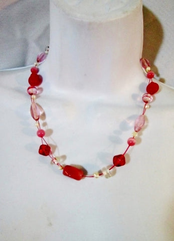 NEW LIA SOPHIA GLASS BEAD Necklace PINK PEARL Choker Hippie