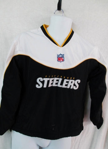 YOUTH BOYS NFL PITTSBURGH STEELERS Nylon Long Sleeve FOOTBALL Jersey Top BLACK WHITE M