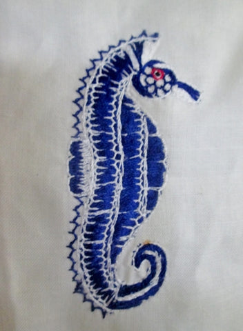 Womens DAISY L Linen Dress SEAHORSE EMBROIDERED BLUE 8 Mermaid WHITE