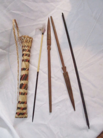 Handmade Artisan Set Primitive Bow Arrows South America Genuine Wood
