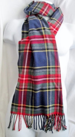 Mens Womens Ladies LAND'S END CASHTOUCH SCARF PLAID MACBETH TARTAN Blue