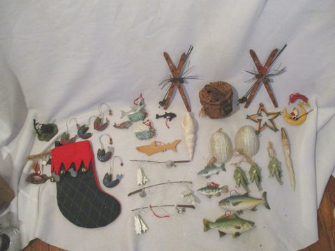 LOT WOOD CHRISTMAS Holiday ORNAMENT Nautical Fish Sea Sailor Set BIG
