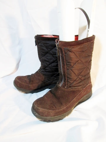 Womens LAND'S END Quilted Suede Leather BOOT 7 BROWN Lined Winter