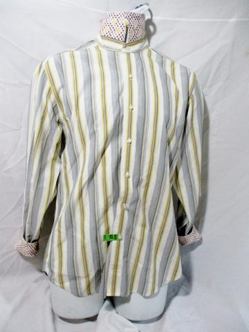 Mens ROBERT GRAHAM STRIPE Button Up Dress Casual Shirt M GRAY YELLOW WHITE