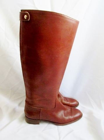 Womens J. CREW Leather Equestrian Moto Rocker BOOTS Shoes BROWN 10 Riding