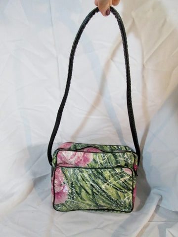 MADE Italy ROSE FLOWER Graphic LEATHER shoulder bag crossbody purse GREEN PINK
