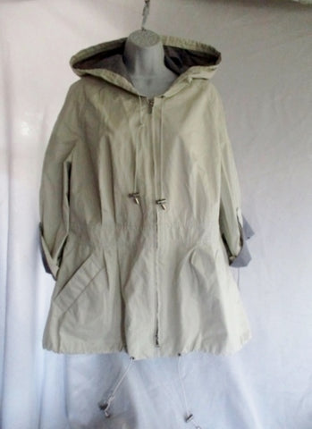 NEW NWT LAFAYETTE 148 NEW YORK LIGHT Zip Windbreaker Jacket Coat 14 Hood Creme WOMENS