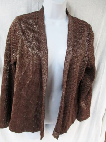 Vtg Womens FRANCESCA FOR DAMON ITALY Sweater Cardigan GOLD SPARKLE 12 Jacket