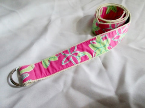 NEW Womens LILLY PULITZER Preppy Floral Cotton D Ring Belt XL PINK GREEN
