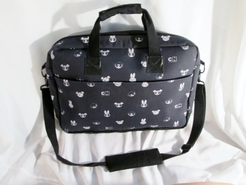 CARTOON NETWORK CN Crossbody Briefcase Book Bag BLACK WHITE BIG EYES Travel