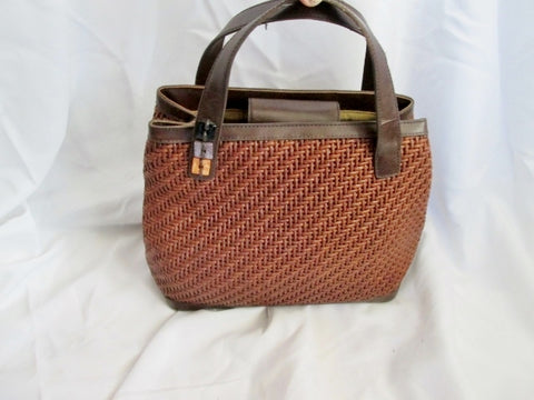 EGO Woven JUTE LEATHER Tote Market Bag Satchel Shopper Clutch Purse BROWN