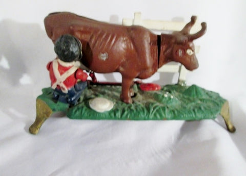 Vintage Cast Iron MILKING COW Mechanical Bank Stevens Model Coin Farm Country Moving