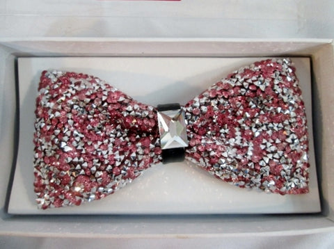 NEW BOW TIE BOWTIE Diamond Glitter Rhinestone TUXEDO Wedding PINK Party
