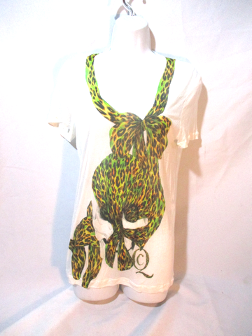 NEW ALEXANDER MCQUEEN ITALY LEOPARD BOW T-Shirt 42 S Cotton