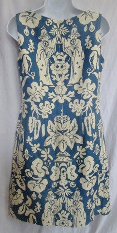 Womens STEVEN STOLMAN Cotton Mini Shift Dress 4 BLUE WHITE ASIAN Style
