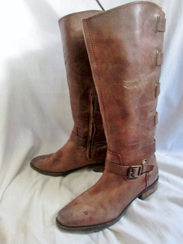 ARTURO CHIANG ELSIE Leather Knee High Moto Riding BOOTS Shoe BROWN 9.5 Steampunk