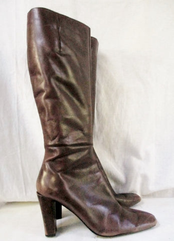 Womens BANDOLINO Leather Knee High Heel Riding Boots Shoes BROWN 9