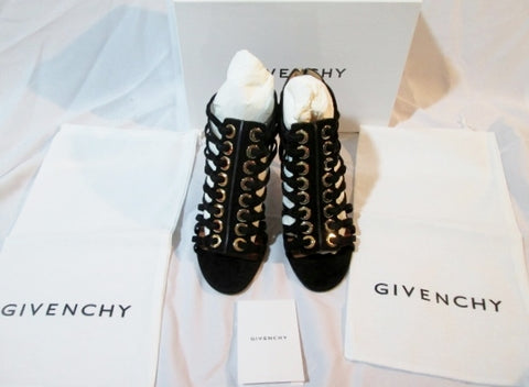 NEW Womens GIVENCHY Suede Leather High Heel Sandal Shoe 36 / 6 BLACK Eyelet $1179