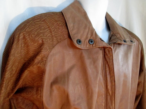 Mens GINO DI GIORGIO COMINT Textured LEATHER jacket Moto Riding Coat M BROWN
