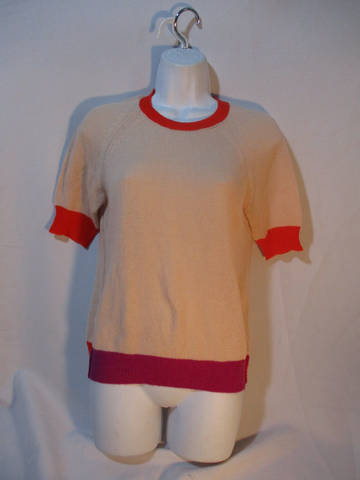 NEW CELINE 100% CASHMERE Short Sleeve Top Blouse Sweater S PEACH PINK