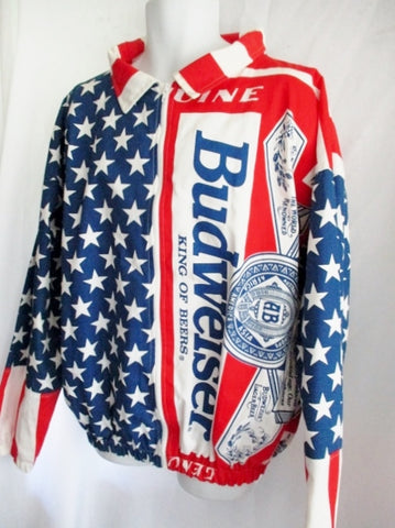 Vintage BUDWEISER American Flag Jacket All Over Print XL RED WHITE BLUE