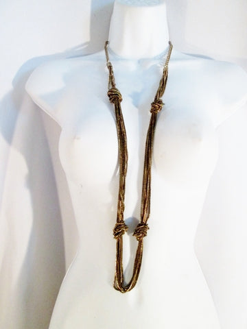 "Vintage 40"" Industrial Tier Multi-Strand Chainlink Runway Tier NECKLACE KNOT Brasstone"