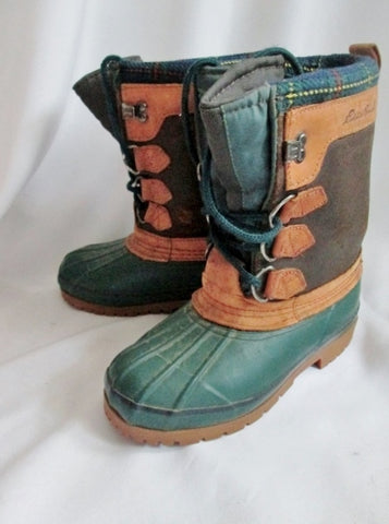 Mens EDDIE BAUER Handcrafted Leather Duck Boot Trail Hiking Snow Lined 5 GREEN