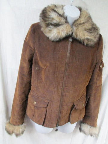 NEW Womens YOUNG SPIRIT Faux FUR collar jacket coat Corduroy BROWN 4 S