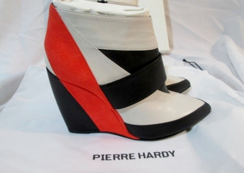 NEW NWT Womens PIERRE HARDY Suede SATIN Calf WEDGE Bootie 36.5 6 Heel NIB