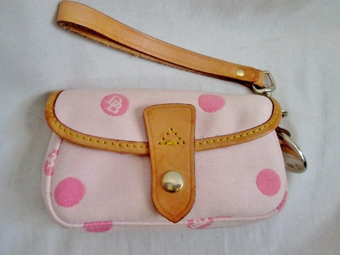 DOONEY & BOURKE POLKA DOT Purse Wallet Clutch Pouch Case Wristlet PINK Leather