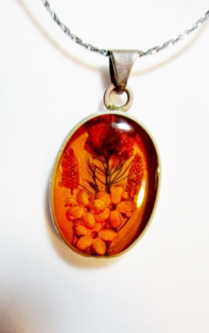 MEXICO 925 Sterling Silver FLOWER FLORAL AMBER Pendant NECKLACE FLOWER