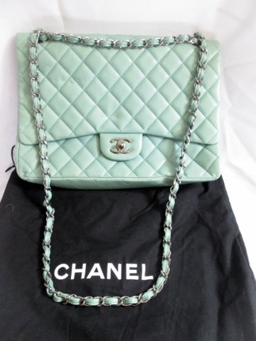 CHANEL MEDIUM CLASSIC DOUBLE FLAP Quilted Lambskin Leather Bag GREEN BLUE Purse AUTHENTIC Chainlink