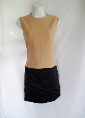 CELINE Color Block Sleeveless Short Dress 38 / 6 BEIGE BLACK Womens