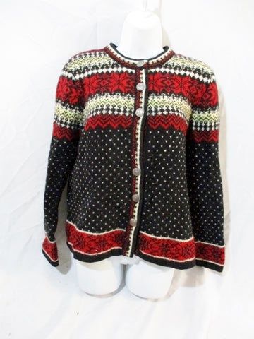 Womens SKYR Wool Knit Ski Holiday Nordic Sweater L RED BLACK Ethnic Christmas