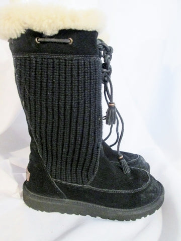 Girls UGG AUSTRALIA 5921 Suede Cardy Sweater Knit BOOT Shoe BLACK 4 Sheepskin