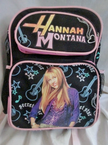 Vtg HANNAH MONTANA Disney GUITAR MILEY CYRUS Black Backpack Rucksack