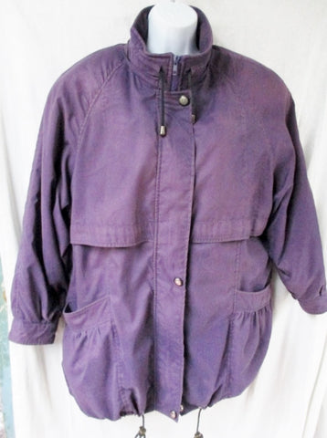 Vtg EURO COUTURE RABBIT FUR LINING jacket coat parka PURPLE 38 M 8