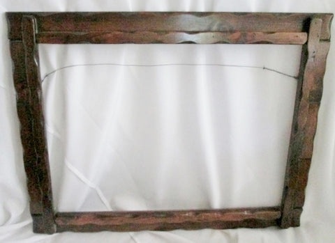 "Vintage 32"" x 25"" Carved Rustic Folk Art Wood Picture Painting Frame Lodge Decor"