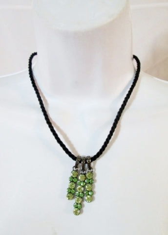 NEW LIA SOPHIA Rhinestone Jewel Encrusted PENDANT Necklace GREEN YELLOW Choker Hippie