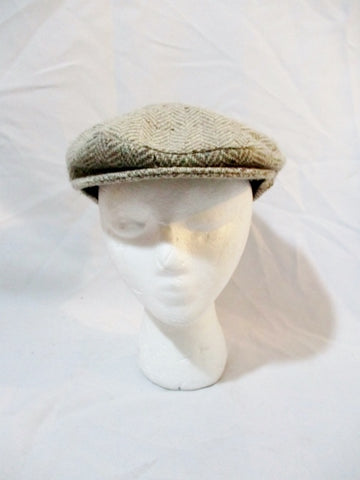 CLONLEIGH IRELAND Wool driving cap hat beanie tweed 6 7/8 GRAY Herringbone