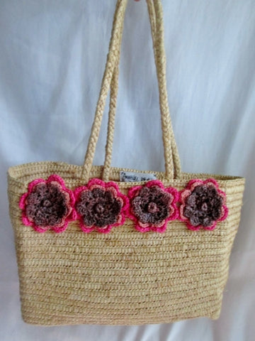 ANNABEL INGALL AUSTRALIA Woven RAFFIA Basket Satchel Shoulder Bag Floral TOTE NATURAL BEIGE