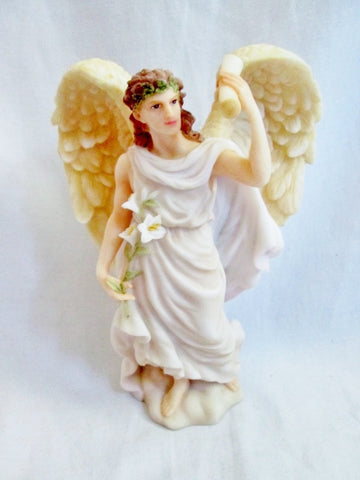 New Retired Collectible KD Vintage ANGEL BOY WITH DOG Ringing Bell Figurine